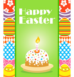 Happy easter background card with cake vector