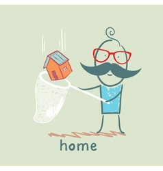 man catches a butterfly net house vector image