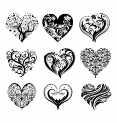 set of 9 tattoo hearts vector image vector image