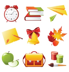 9 colorful school icons vector image vector image