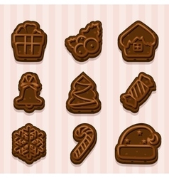 chocolate cookies for Christmas and New Year vector image