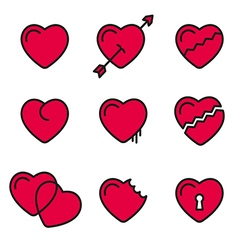 heart line icons symbols vector image
