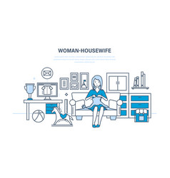 housewife in quiet environment knits on couch vector image vector image