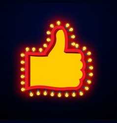 like sign with glowing lights thumb up symbol of vector image vector image