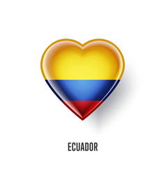 patriotic heart symbol with ecuador flag vector image vector image