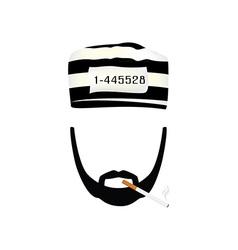 Prisoner with burning cigarette vector image