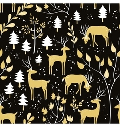 Seamless pattern with deer in winter forest vector image vector image