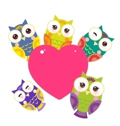 set bright colorful owls Card design with a funny vector image vector image