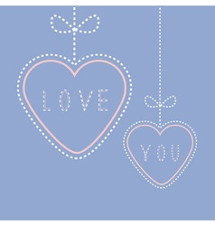 Two hanging hearts with bows Love greeting card vector image vector image