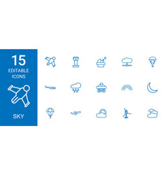 15 sky icons vector