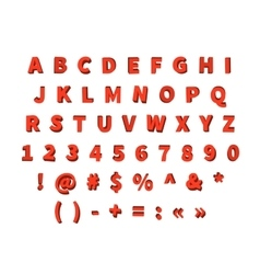 3d decorative latin red font vector image