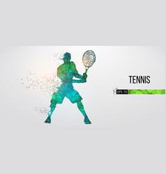 Abstract silhouette tennis player man vector