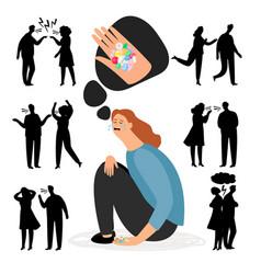 Antidepressants pills depression after quarrel vector
