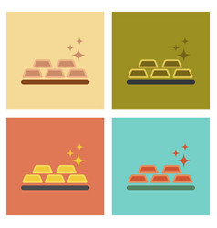 Assembly flat icons poker gold bullion vector