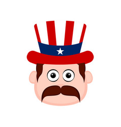 Avatar of a man with an american party hat vector