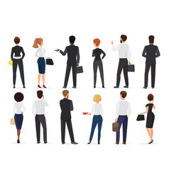 Back view of business office people group man vector