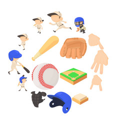 baseball items icons set cartoon style vector image