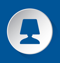 Bedside table lamp - blue icon on white button vector