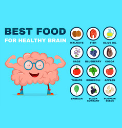 Best food for strong brain strong healthy vector