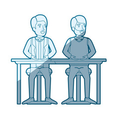 Blue color silhouette shading of men sitting in vector