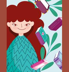 Book day happy teen girl books leaves cartoon vector