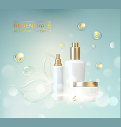 Bottle for cosmetic lotion and jar of cream vector