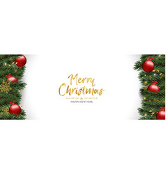 christmas greeting card of red pine tree baubles vector image