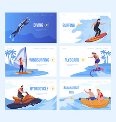 collection beach sport landing page vector image