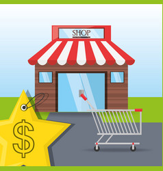 Colorful store with shopping cart concept vector