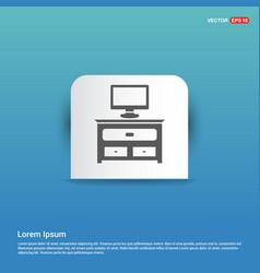 Computer table icon - blue sticker button vector
