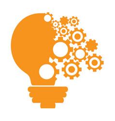 Conceptual idea lightbulb with gear pieces vector