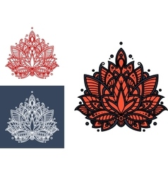 Coral persian paisley flower with oriental pattern vector image