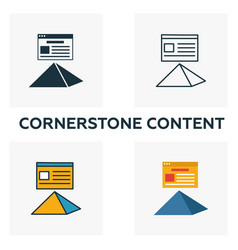 cornerstone content icon set four elements in vector image