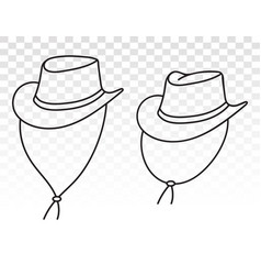 Cowboy hat or bullhide hats with strap line art vector