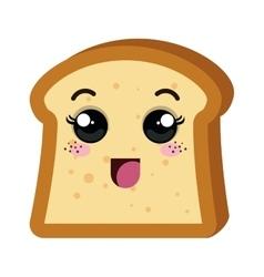 delicious bread kawaii style vector image