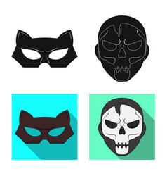 Design of hero and mask logo set of hero vector