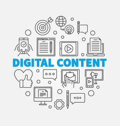 Digital content round outline vector
