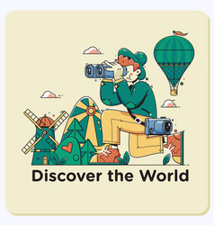 Discover the worldtravel explore discover and vector