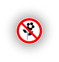 Do not pluck flowers sign vector