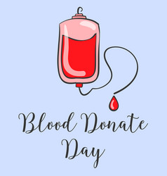 doodle world blood donor day hand draw vector image