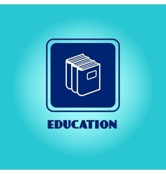 Education logo with book pile vector