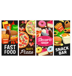 fast food snack bar desserts meals banners vector image