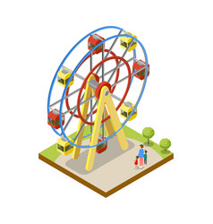 Ferris wheel isometric 3d element vector