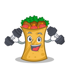 fitness kebab wrap character cartoon vector image