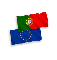 Flags european union and portugal on a white vector