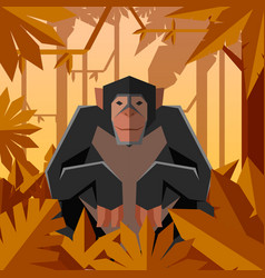 flat geometric jungle background with chimpanzee vector image