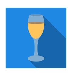 Glass of white wine icon in flat style isolated on vector