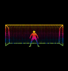 Goalkeeper prepare catches the ball vector