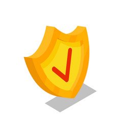 golden shield isometric 3d icon vector image