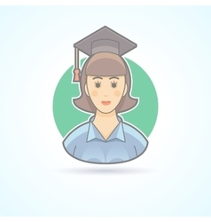 Graduated girl woman in an academic cap icon vector image